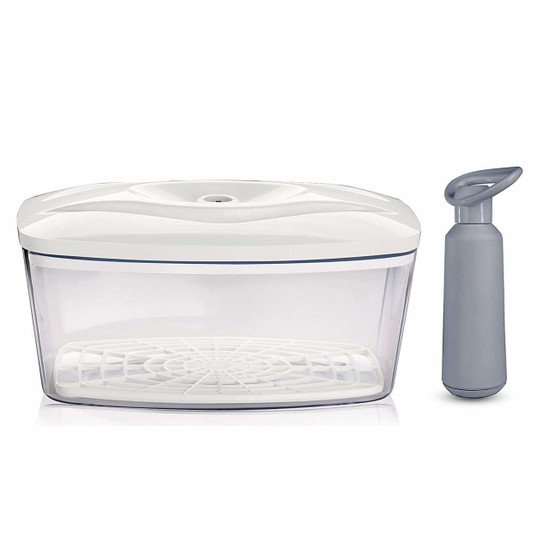 Dafi Vacuum Container 90 fl oz. with Manual Pump and 3 Bottle Vacuum Sealers (White)