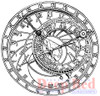 Deep Red Stamps Astronomical Clock Rubber Cling Stamp High Resolution