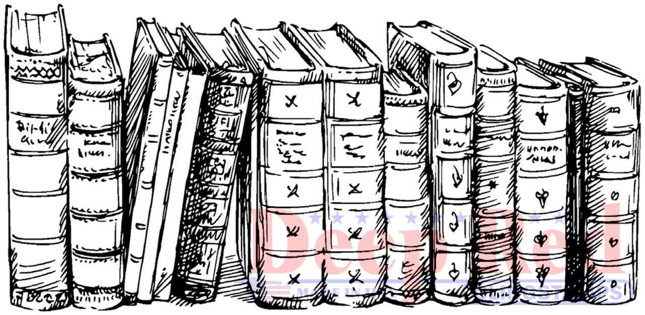 Old Books Border Rubber Cling Stamp Deep Red Stamps