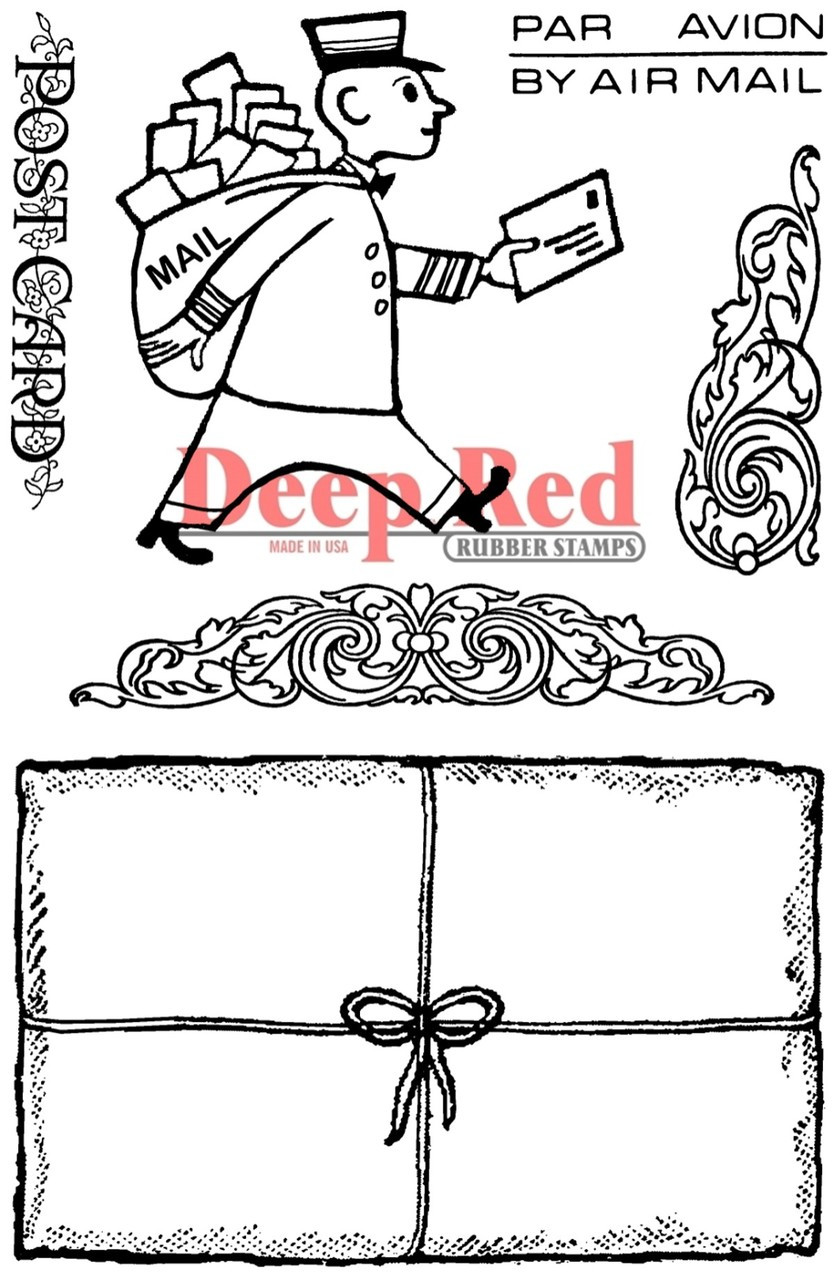 mailman postcard rubber cling stamp deep red stamps