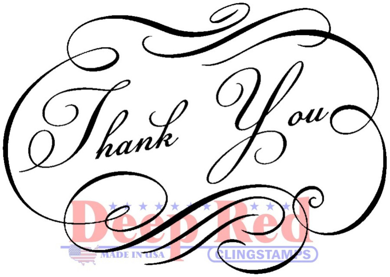 fancy thank you essentials cling stamp deep red stamps