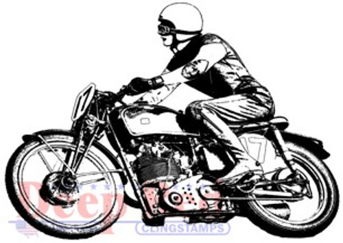 Deep Red Stamps Motorcycle Race Cling Stamp