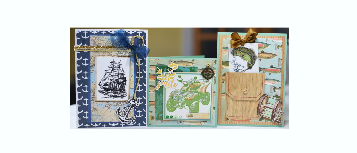 Greeting cards with Clipper Ship, Anchor, 4Wheeler, Large Mouth Bass stamps