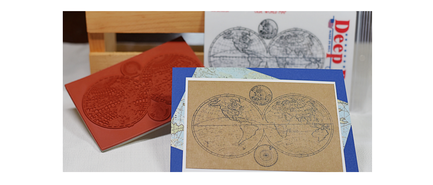 Olde World Map Rubber Stamp