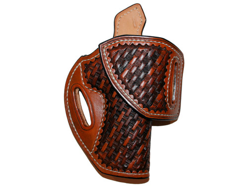 """HF-1 for 1911 5 Inch  Right hand, Leather lined, Sweat tab, 1-1/2"""" belt, Medium brown, Multi-color basket weave stamping"""