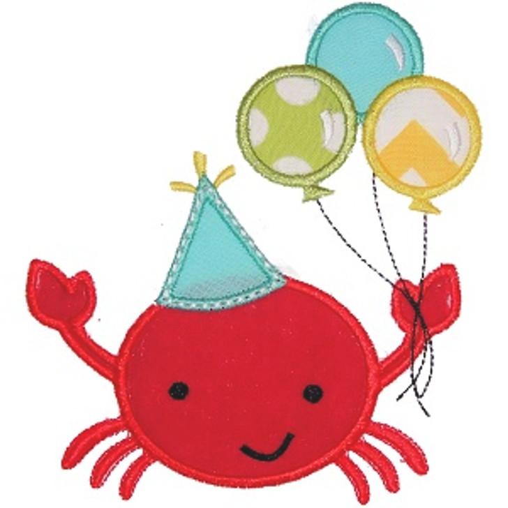 Birthday Crab Applique