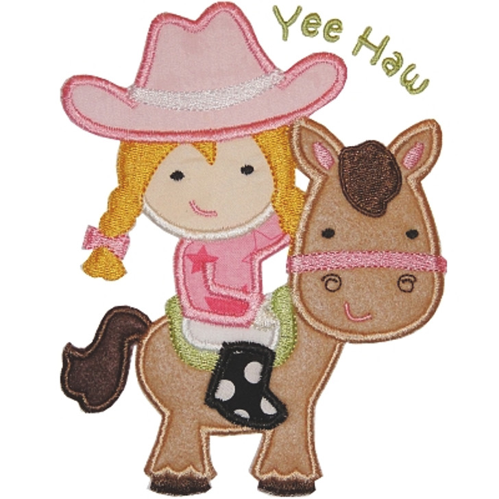 Horse Cowgirl Applique