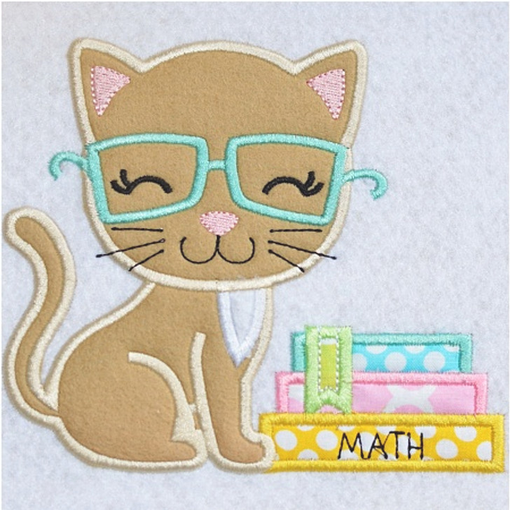 Kitty and Books Applique