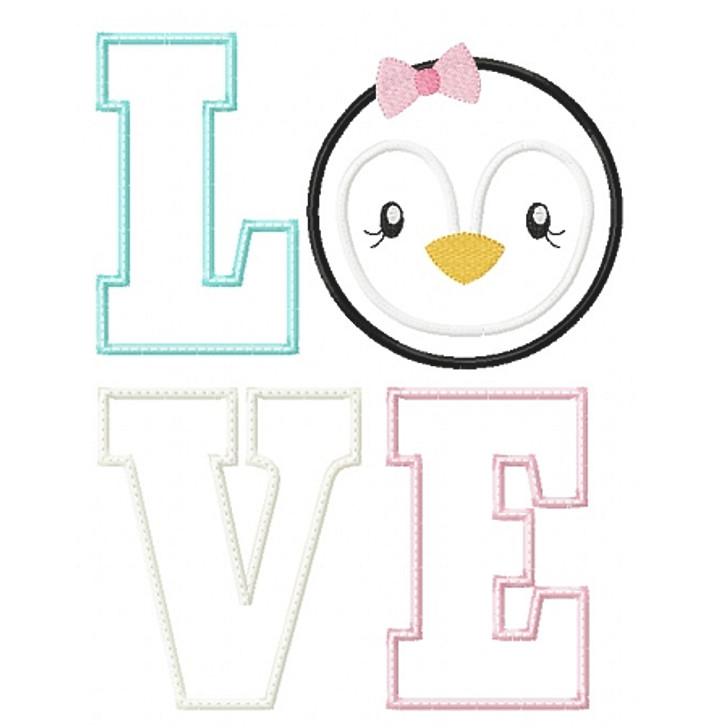 Love Penguin Applique