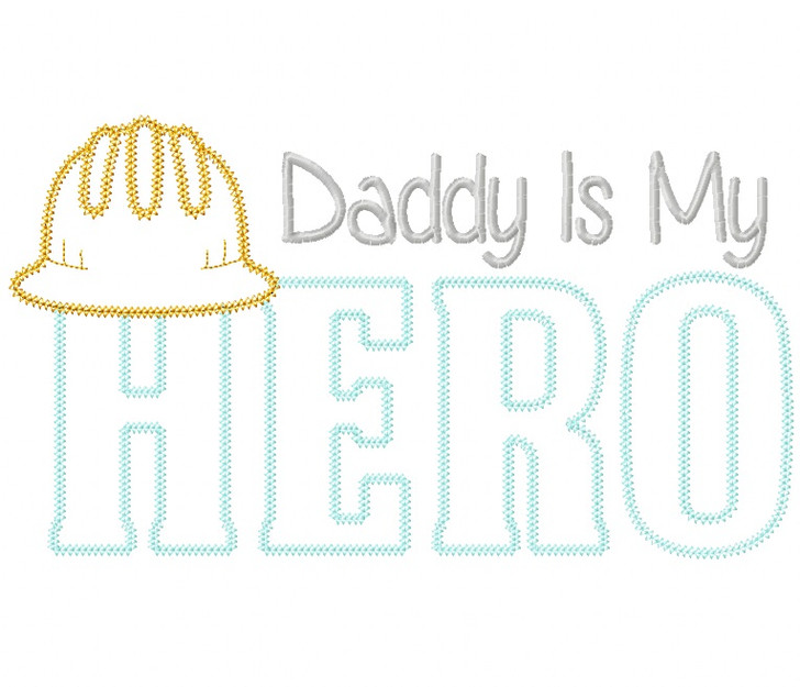 Construction Dad Hero Vintage and ZigZag Stitch Applique