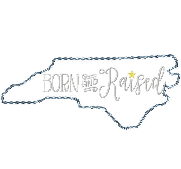 North Carolina Born and Raised Vintage and Blanket Stitch Applique