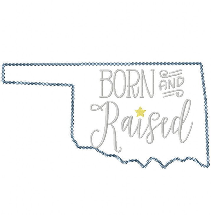 Oklahoma Born and Raised Vintage and Blanket Stitch Applique