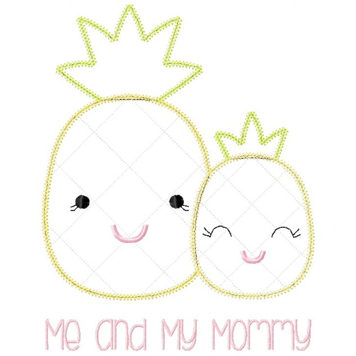 Me and Mommy Pineapple Vintage and Blanket Stitch Applique