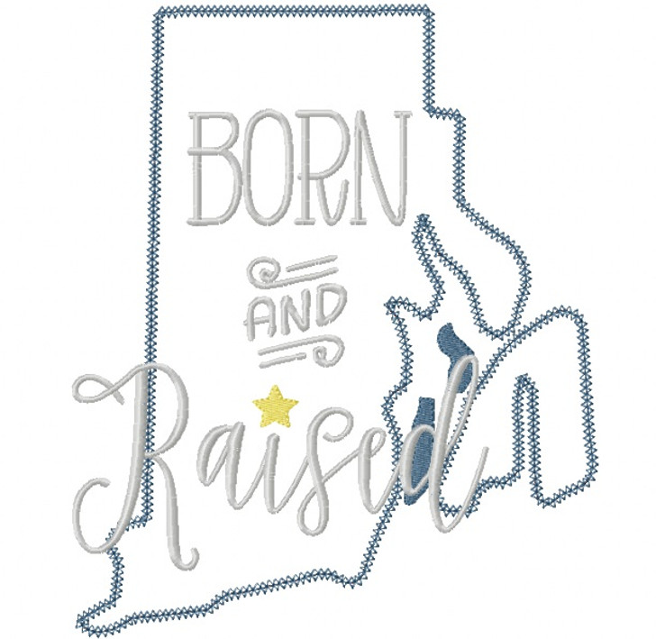 Rhode Island Born and Raised Vintage and Blanket Stitch Applique