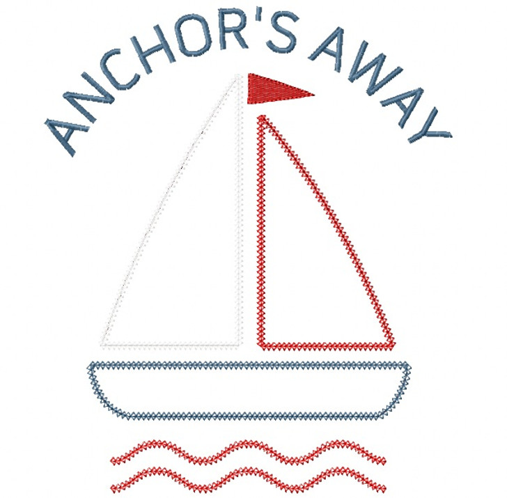 Anchors Away Sailboat Vintage and Chain Stitch Applique