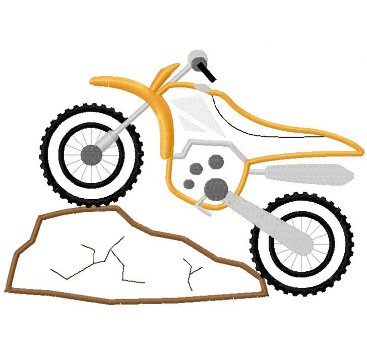 Dirt Bike and Rock Satin Stitch Applique