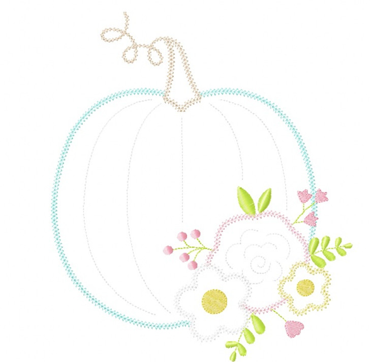 Floral Pumpkin Vintage and Chain Stitch Applique