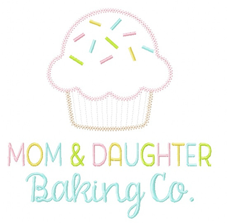 Mom and Daughter Baking Co. Vintage and Chain Stitch Applique