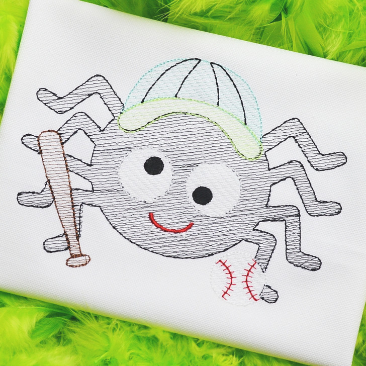 Baseball Spider Sketch Embroidery