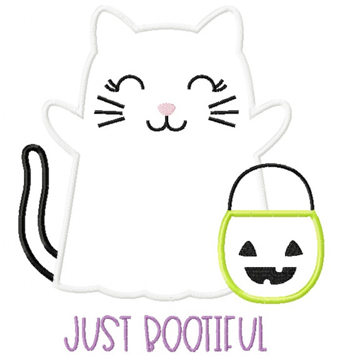 Ghost Kitty Satin and Zigzag Stitch Applique