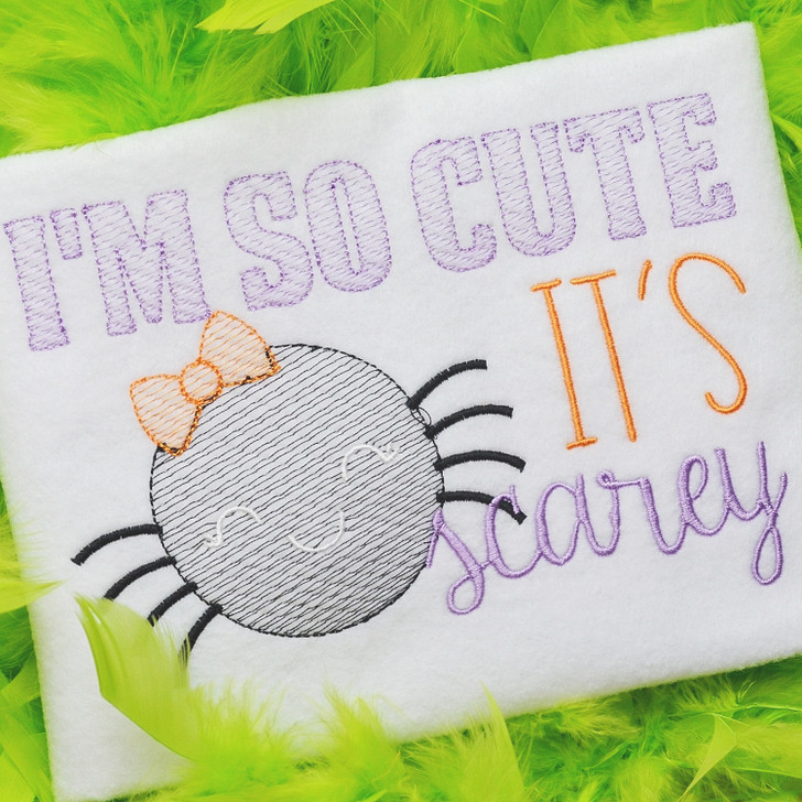 So Cute Its Scarey Sketch Embroidery