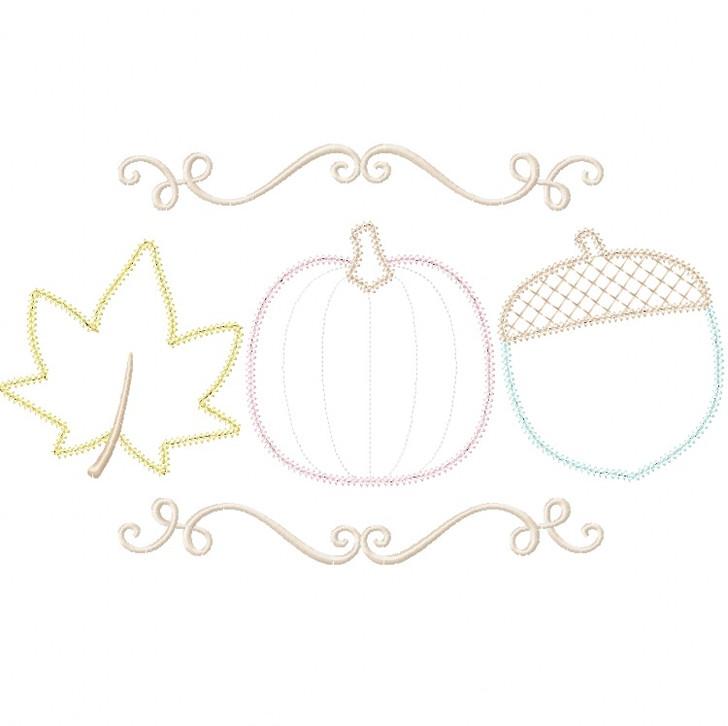 Pumpkin Leaf and Acorn Vintage and Chain Stitch Applique