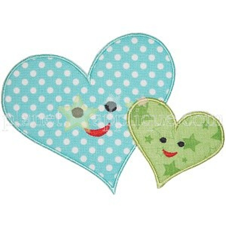 Mom and Baby Heart Applique
