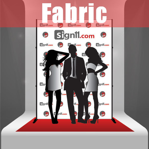 Fabric Step and Repeat Banner with stand and red carpet 6'x8'