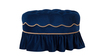 Toby Decorative Oval Ottoman, Velvet, Navy Blue