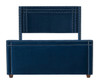 Elle Wingback Upholstered Bed, Navy Blue (Queen Size)