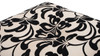 Cassandra Traditional Decorative Ottoman, Floral & Quilt, Black & Ivory