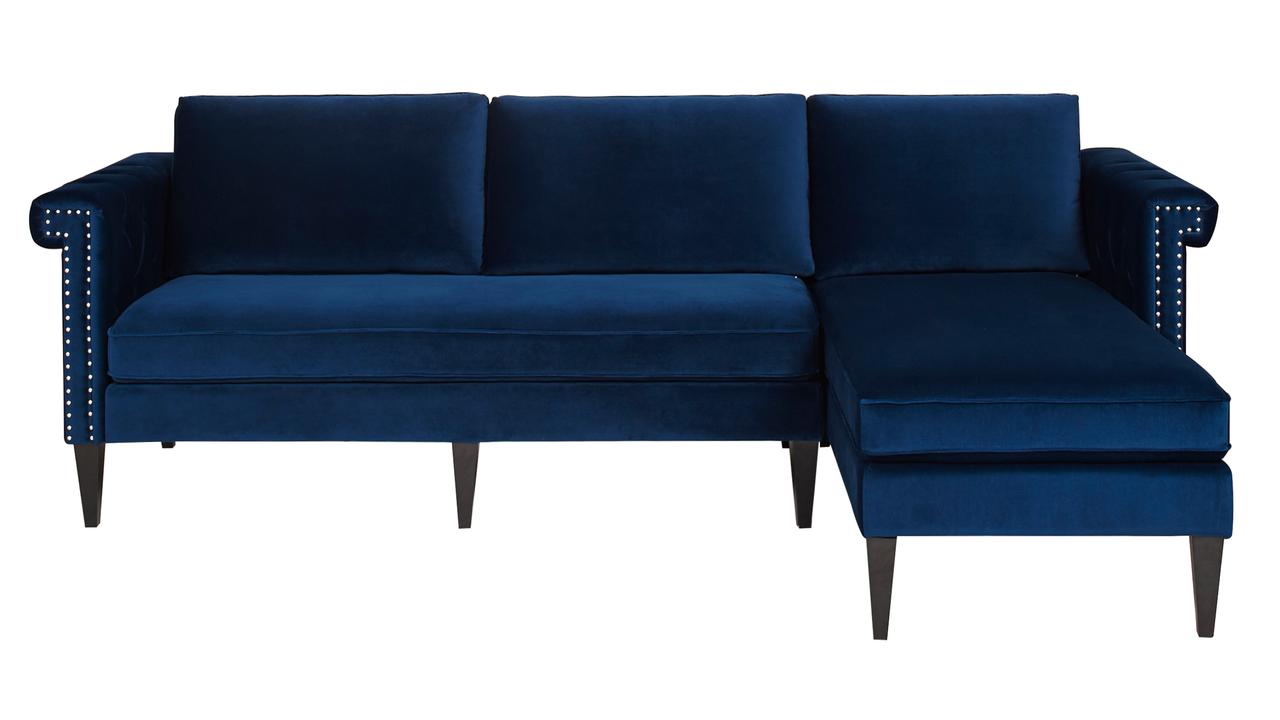 nathaniel reversible chaise sectional navy blue jennifer taylor home. Black Bedroom Furniture Sets. Home Design Ideas