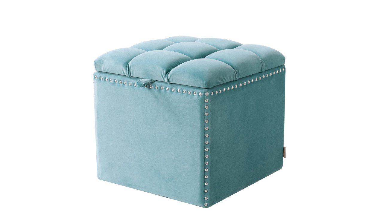 Attrayant Natalia Storage Ottoman, Arctic Blue