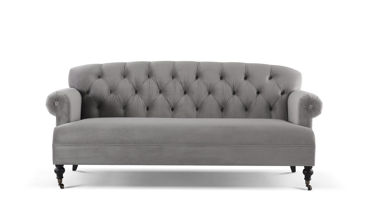 Mackenzie Tufted Rolled Arm Sofa, Opal Grey