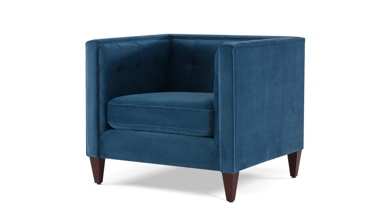 Lovely Jack Tuxedo Arm Chair, Satin Teal