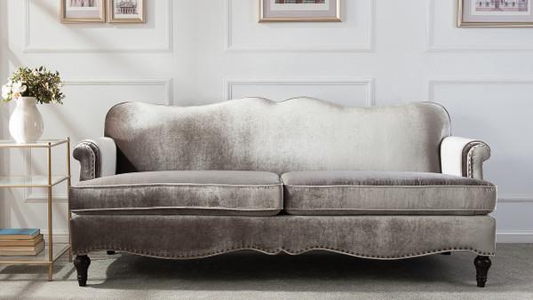 ... Grey Legacy Camel Back Sofa, Grey