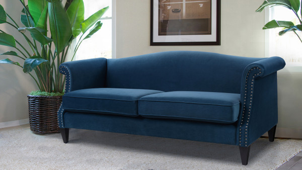 Elaine Camel Back Sofa, Satin Teal