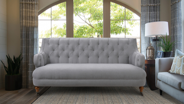 Milano Tufted Accent Sofa, Mineral Grey