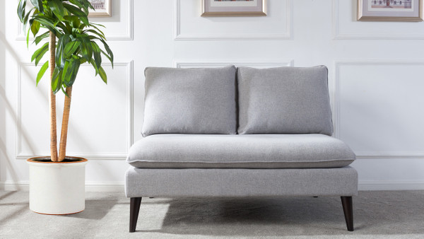 Vera Upholstered Loveseat, Light Grey