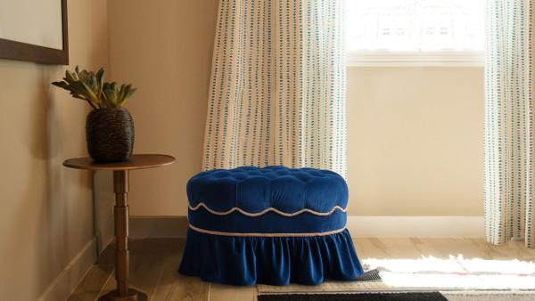 Toby Decorative Oval Ottoman, Velvet, Navy Blue