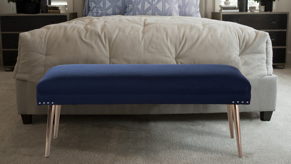 Pamela Entryway Bench, Midnight Blue