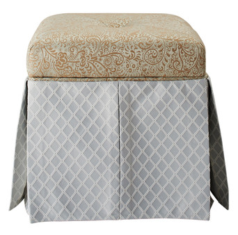 Stacy Square Storage Vanity Stool, Teal Tan