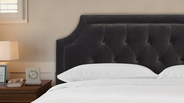 Kaye Tufted Headboard, Dark Charcoal Grey (Queen Size)