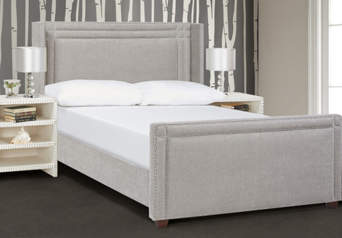 Elle Wingback Upholstered Bed, Silver Grey (Queen Size)
