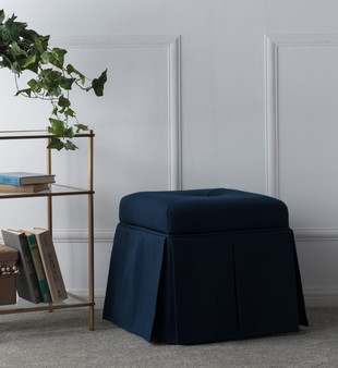Stacy Square Storage Vanity Stool, Midnight Blue