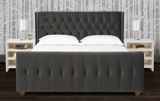 David Tufted Wingback Upholstered Bed, Dark Charcoal Grey (Queen Size)