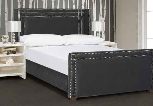 Elle Wingback Upholstered Bed, Dark Charcoal Grey (Queen Size)