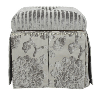 Stacy Square Storage Vanity Stool, Grey