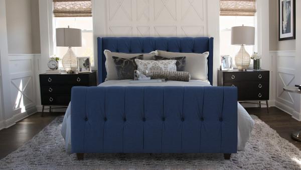 David Upholstered Bed, Queen, Dark Sapphire Blue