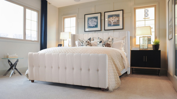 David Upholstered Bed, King, Sky Neutral